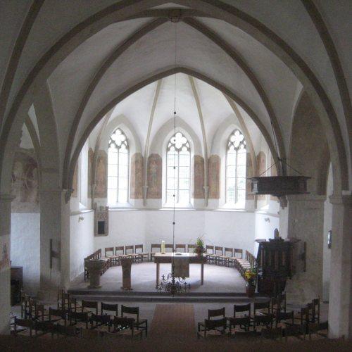 Maler Bielefeld, Denkmalpflege: Ev. Dorfkirche in Heiden, Freilegungen und Sumpfkalkanstriche der Wände und Deckengewölbe durch Stenner und Keitel